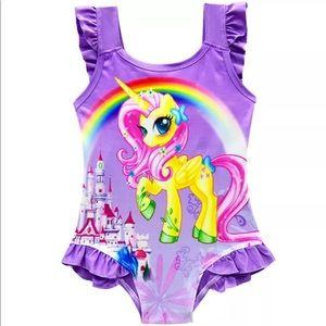 Girls unicorn, purple/pink swimsuit, 4/5T nwot